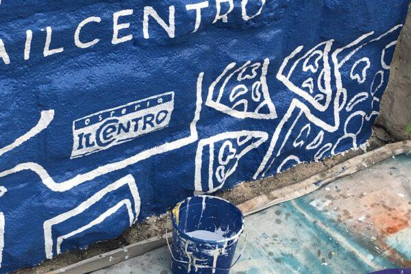 Osterial Il Centro logo in progress South Plaza mural